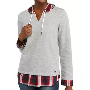 Tommy Hilfiger Red Plaid 2Fer Hooded Sweatshirt